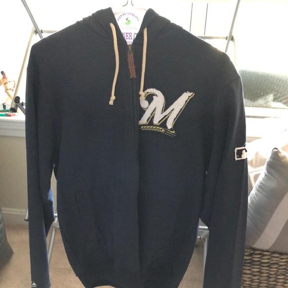 los angeles 7ccde 0ac56 Milwaukee Brewers MLB Zip Up Sweatshirt NWT